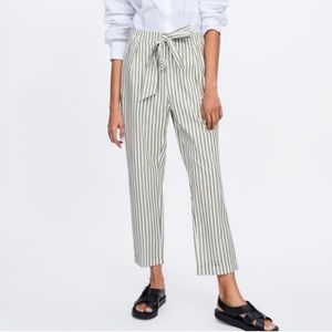 Striped Camel Trousers with Belt